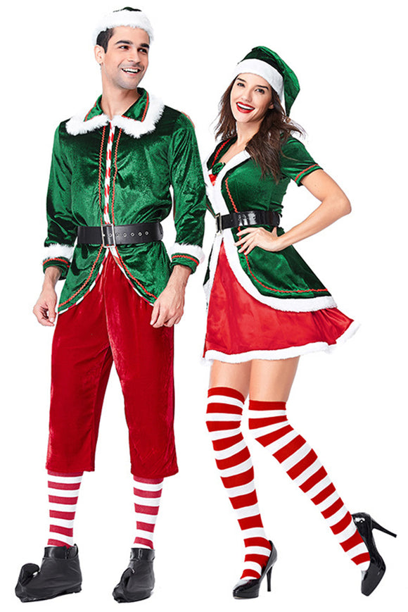 Adult Christmas Costumes Couple's Santa ELF Cosplay Costume