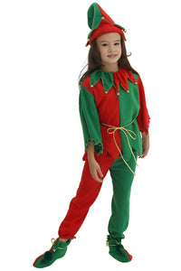 Kids Red and Green Elf Tunic Christmas Costume with Jingle Bells