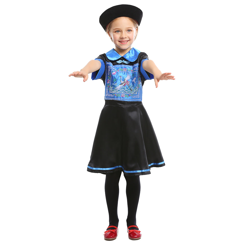 Unique Halloween Costumes For Kids Girl.Chinese Zombie Girls Halloween Costume Kids Dress Up Cosplay