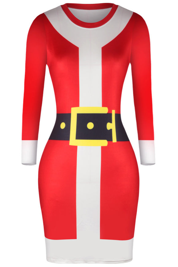 WOMEN'S SANTA SUIT V-NECK BODYCON CHRISTMAS DRESS