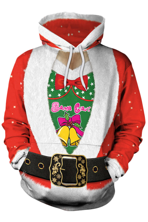 Women Christmas Sweatshirt Women Xmas Santa Print Hoodies Pullover with Pouch Pockets
