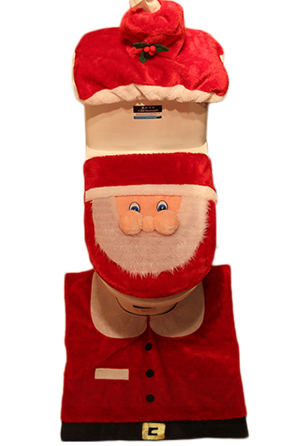 Miraculous 3D Nose Santa Toilet Seat Cover Set Red Christmas Customarchery Wood Chair Design Ideas Customarcherynet