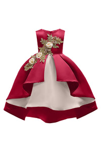 Girls Christmas Flower Embroidery Ruffles Party Wedding Dresses