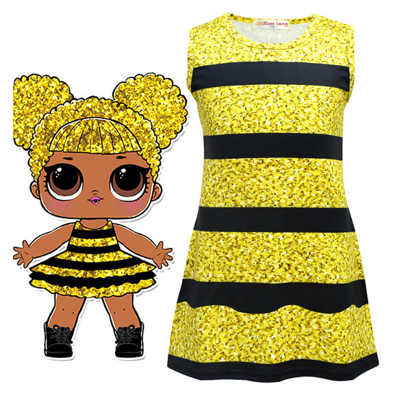 Halloween L.O.L Suprise Doll Girls Cosplay Cartoon Sleeves Dress