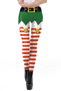 Women Digital Print Ugly Christmas High Waist Stretchy Leggings Tights