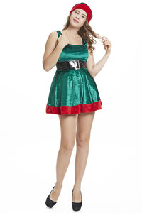 Women Christmas Green Elf Cosplay Velvet Dress