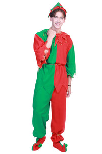 Men's Elf Costume Adult Christmas Outfit Set Kit