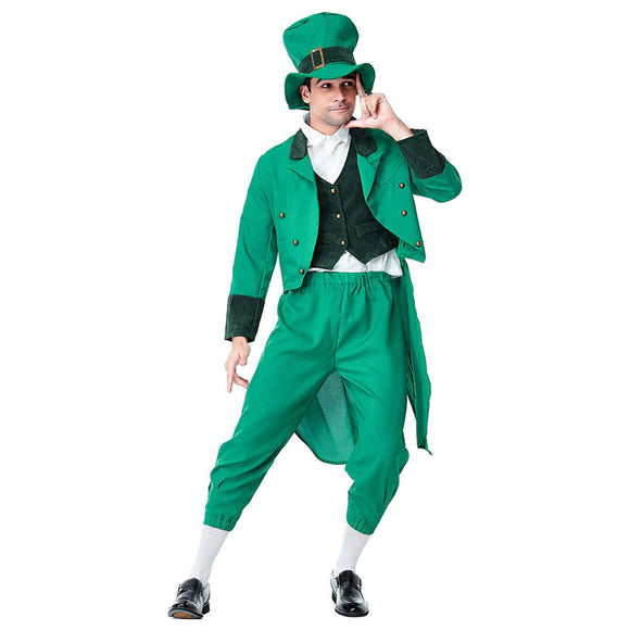 Men's St. Patrick's Day Outfit Suit Set Irish Green Leprechaun Party Costume Set