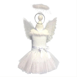 1cc12ea539316e Girls Angel Dress Costume Halloween Party Stage Props Set Tulle Tutu ...