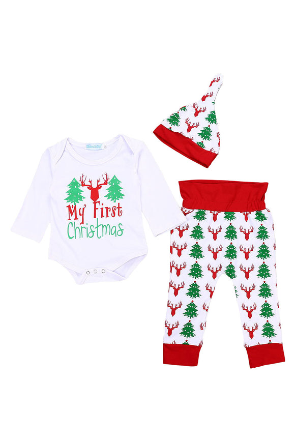 3pc Toddler Baby My 1st Christmas Green Romper + Red Stripes Pants + Xmas Hat