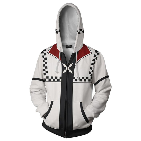 Unisex Roxas Hoodies Kingdom Hearts Zip Up 3D Print Jacket Sweatshirt Style B