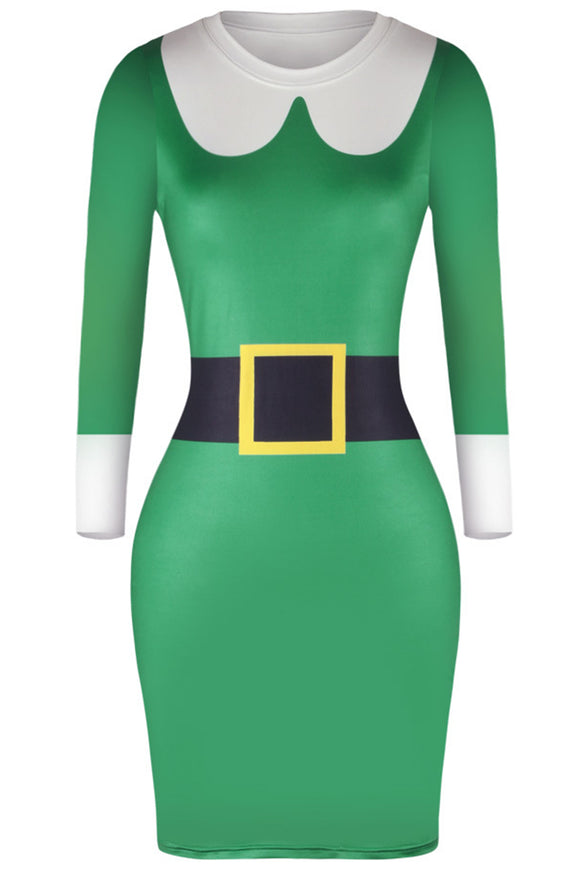 WOMEN'S CHRISTMAS GREEN ELF DRESS