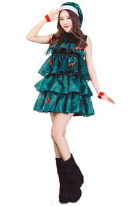 Women's Sleeveless Halter Sexy Christmas Tree Dress