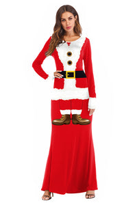 Christmas Party Long Dress  Women Santa Claus Costume