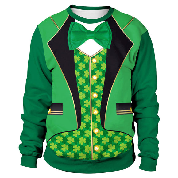 Men's St.Patrick's Day Long Sleeve O Neck Gentleman Suits