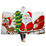 Christmas Decoration Hooded Blanket with Hat Wearable Blanket
