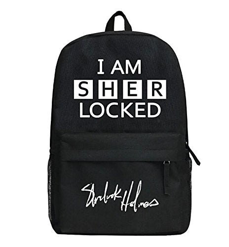 Sherlock Holmes Backpack Black School Traveling Unisex