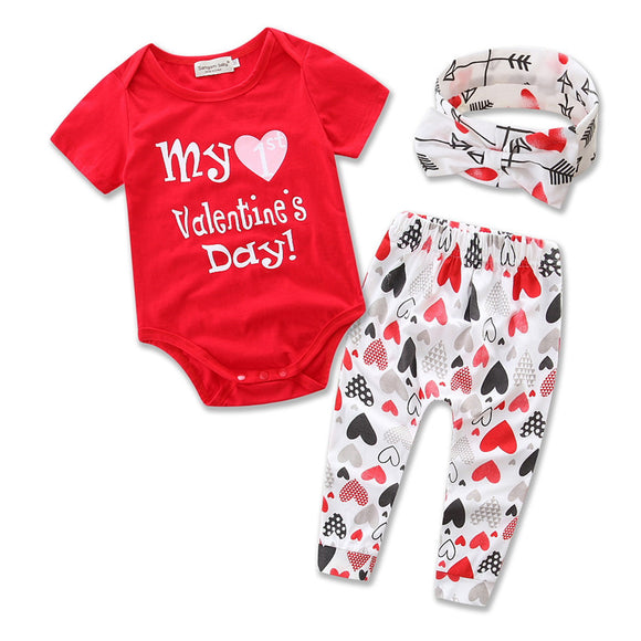 3PCS Set Newborn Baby Girl Clothes Cute Toddler Outfit Red White