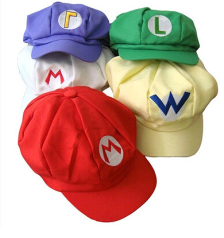 Mario Luigi Wario Waluigi Fire Mario Embroidered Costume Newsboy Hat