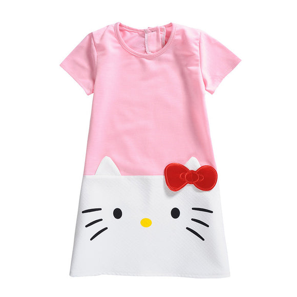 Baby Girls Clothes Hello Kitty Shirt Dress For Kids Girls