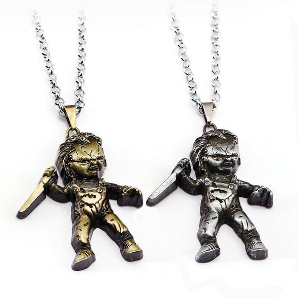 Horror Movie Necklace Jewelry Seed of Chucky Child's Play Chucky Curse Of Chuck Bronze Plated Pendant