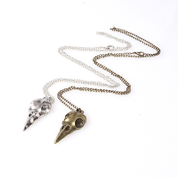 Halloween Punk Jewelry Antique Bronze Crow Funeral 3D Animal Raven Bird Skull Pendant Necklace - 2pcs
