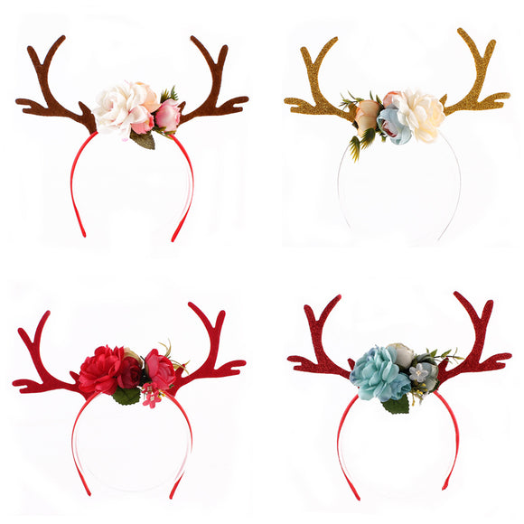 Antler Headband with Flowers Blossom Novelty Christmas Decoration