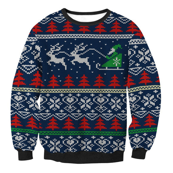 Adult Christmas Ugly Sweater Round Neck Print Sweater