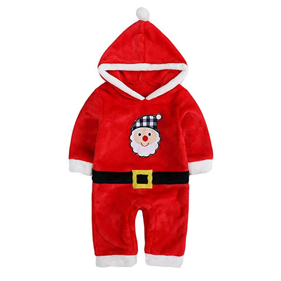 Baby Flannel Romper Santa Onesie Costume Hooded Cartoon Outfit