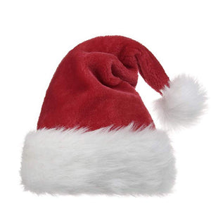 Santa Hat for Adults Plush Red Christmas Costume