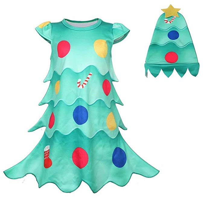 Toddler Christmas Tree Costume.Kids Girls Christmas Tree Costume Dress Xmas Party Outfit