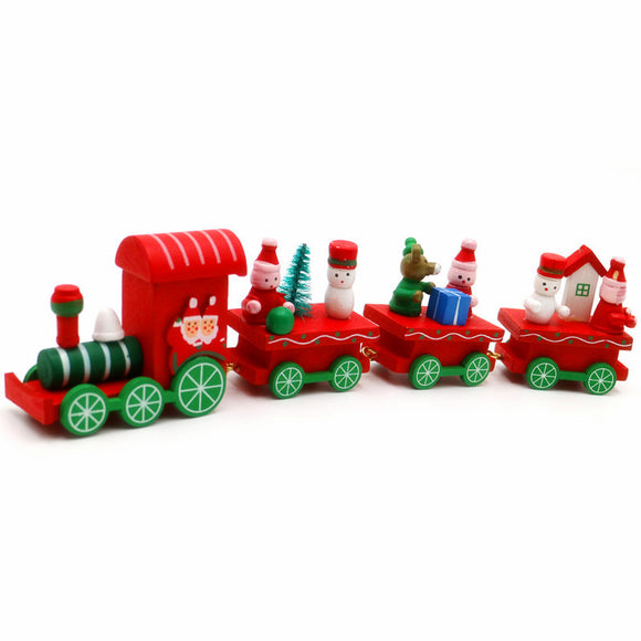 Pieces Wood Christmas Train Decoration Decor Gift