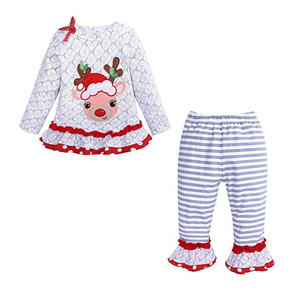 Toddler Kids Baby Girl Outfit Christmas Elk Long Sleeve Ruffle Pajamas