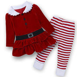 Kids Toddler Christmas Santa Red Long Sleeve And Stripe Pant Corduroy Costume