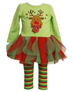 Baby Girls Christmas Embroidery Deer Ruffle Tutu T-shirt Dress Stripe Pant Outfit