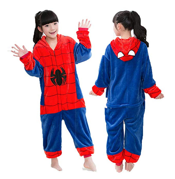 Spiderman Cosplay Costume for Kids,Girl Boys Hoodie Onesie Pajamas Homewear