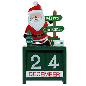 Christmas Desktop Calendar Mini Wooden Tabletop Decoration