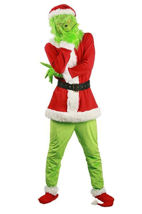 Adult Grinch Santa Hat Shoes Gloves Costume Suit For