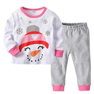 Baby Pajamas Christmas Snowman Printed Long Sleeves Top +Pants Clothing
