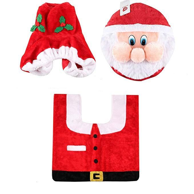 Brilliant 3D Nose Santa Toilet Seat Cover Set Red Christmas Decorations Customarchery Wood Chair Design Ideas Customarcherynet