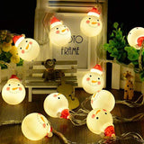 Santa Claus Snowman Battery Lamp String Christmas Decoration