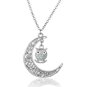 Cute Moon Owl Necklace Fashion Glow in The Dark Jewelry Necklace