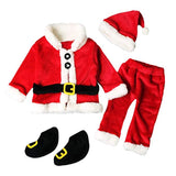 4PCS Infant Baby Santa Christmas Outfits Costumes