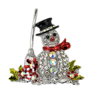 Snowman Tree Brooch Jewelry