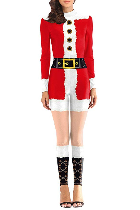 Women Digital Print Long Sleeve Jumpsuit Christmas Costumes