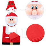 3D Nose Santa Toilet Seat Cover Set Red Christmas Decorations