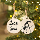 Round Wooden DIY Christmas Ornaments Hanging Decorations