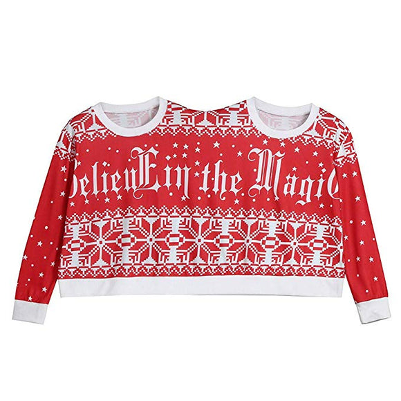 Two Person Funny Sweater Unisex Couples Pullover Novelty Christmas Print Blouse