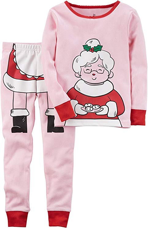 Girls Christmas Pajamas 100% Cotton Snuggle Fit Pajamas Set by