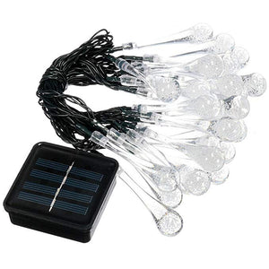 30 LED Outdoor Solar String Lights Water Drop Fairy Garden Patio Light Decoration